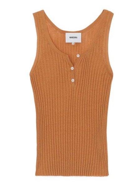 Nanushka Cephas Rib Knit Tank Top - Burnt Orange