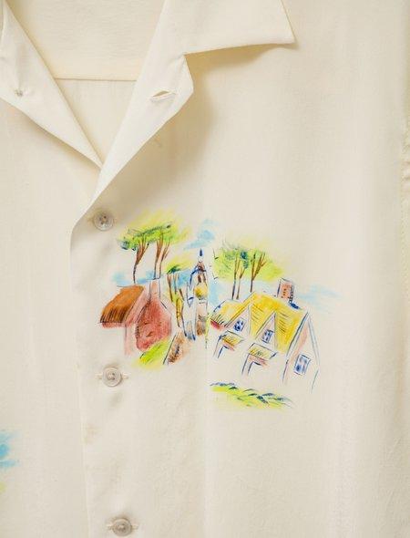 Bode Silk Hand Painted Landscape Shirt