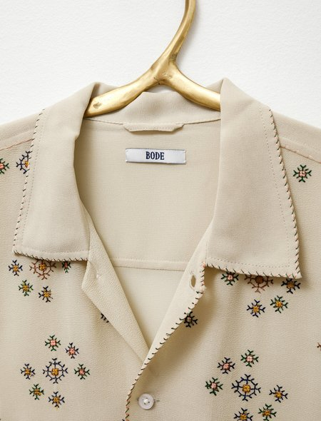 Bode Star Cross Stitch Bowling Shirt - Ecru