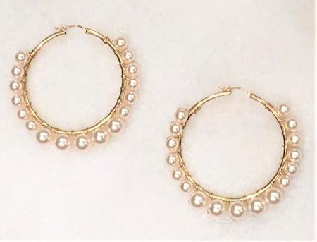Jennifer Tuton Pearl Hoop Earrings