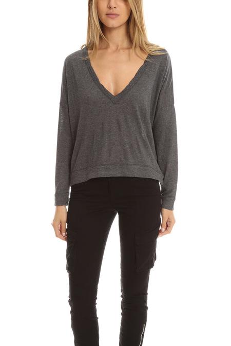 crossly Crossley Oversized V Neck Sweater - Grey
