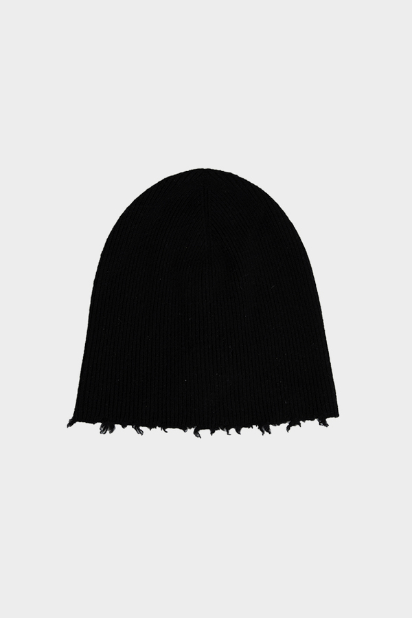 Helmut Lang Fray Edge Cashmere Hat - Black