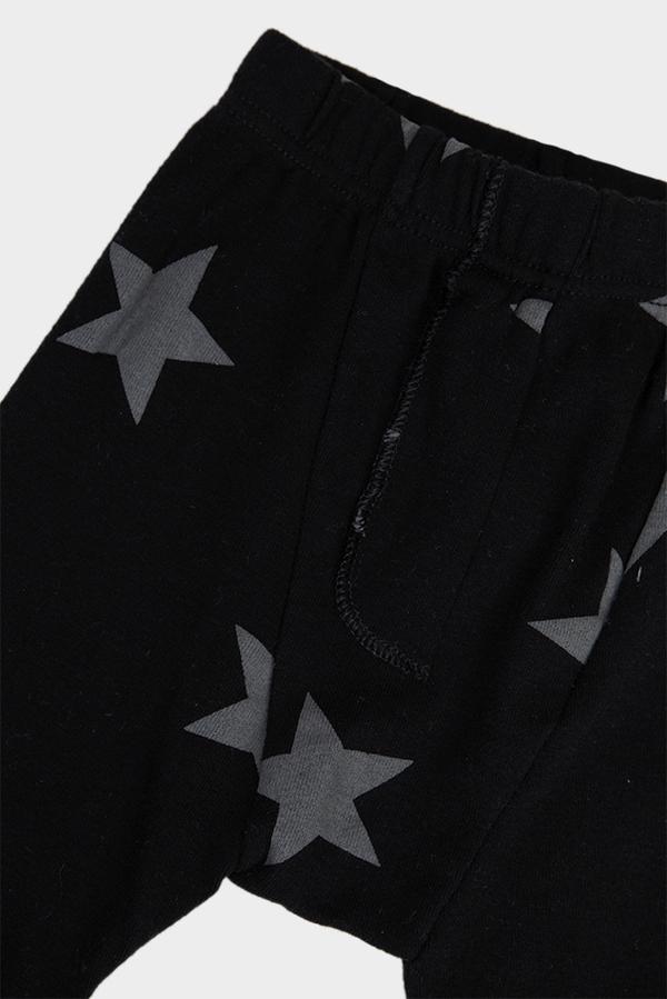 kids Nununu Star Drop Crotch Pants - Black