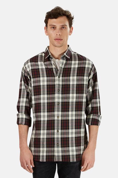Blue & Cream Flannel Shirt - Black/Red