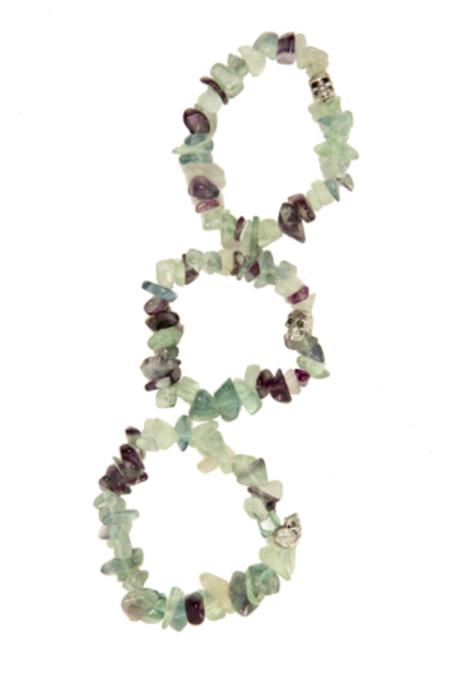 Duchess of Malfi Fluorite Large Stone Skull Bracelet