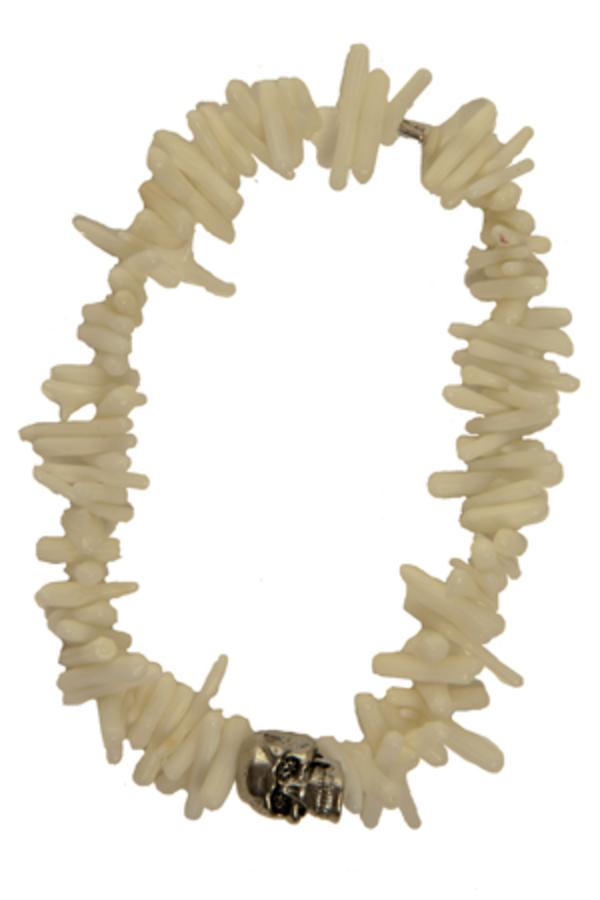 Duchess of Malfi White Coral Shell Skull Bracelet