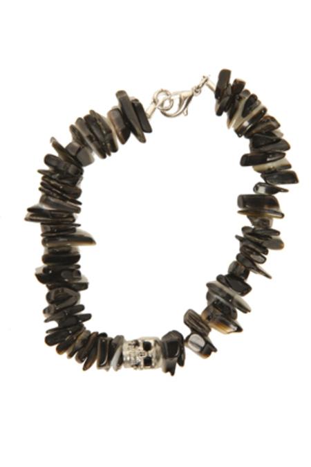 Duchess of Malfi Lip Shell Bracelet with Skull - Black