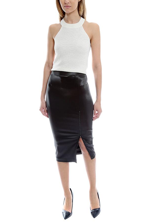 ATM Sparkle Zipper Skirt - Black
