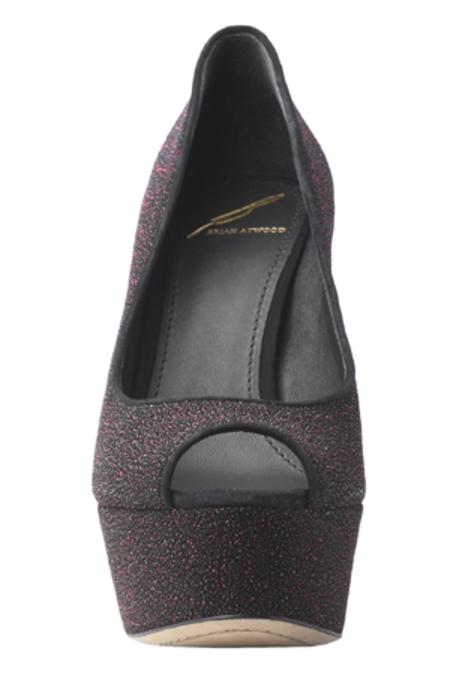 B Brian Atwood Bambola Leather Peep Toe - Fuchsia Sparkle