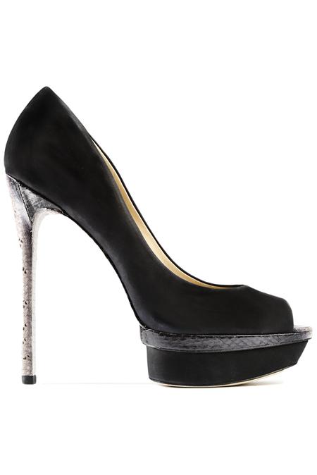 B Brian Atwood Snake Print Heel - Black