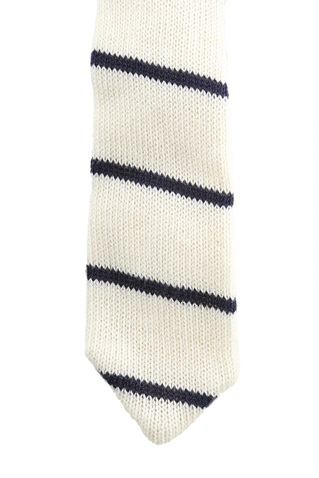 Alexander Olch White Knit Blue Stripe Tie - White/Navy Stripe