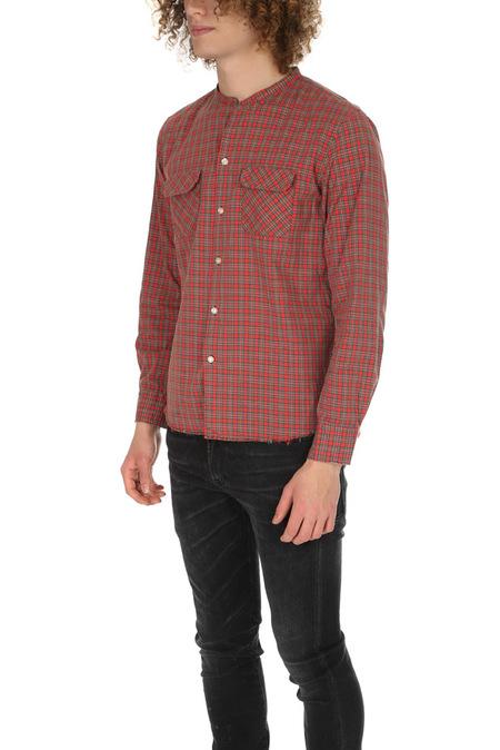 Onesstroke Onestroke Check Stand Collar Shirt - Red