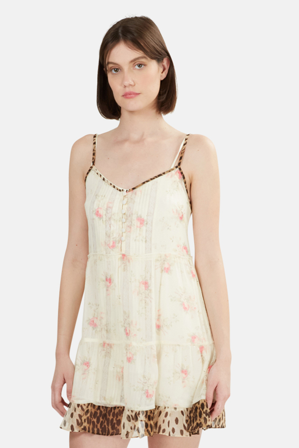 R13 Overlay Dress - Pale Floral/Cheetah