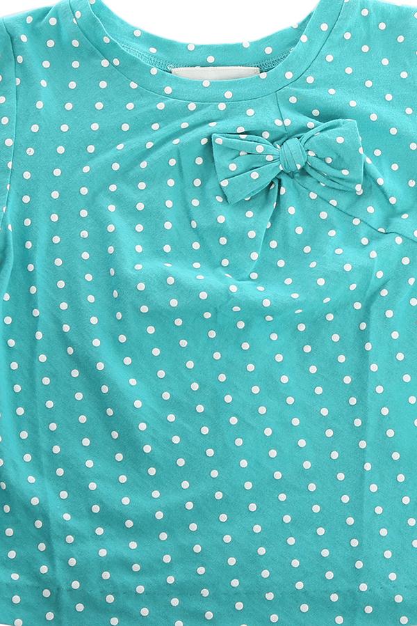kids 3.1 Phillip Lim Kids Raised Polka Dot Bow T-Shirt - Turquoise