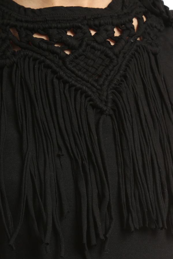 Pam & Gela Fringe Tank Top - Black