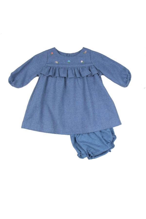 Kids Poeme & Poesie Cotton Embroidered Dress - Blue