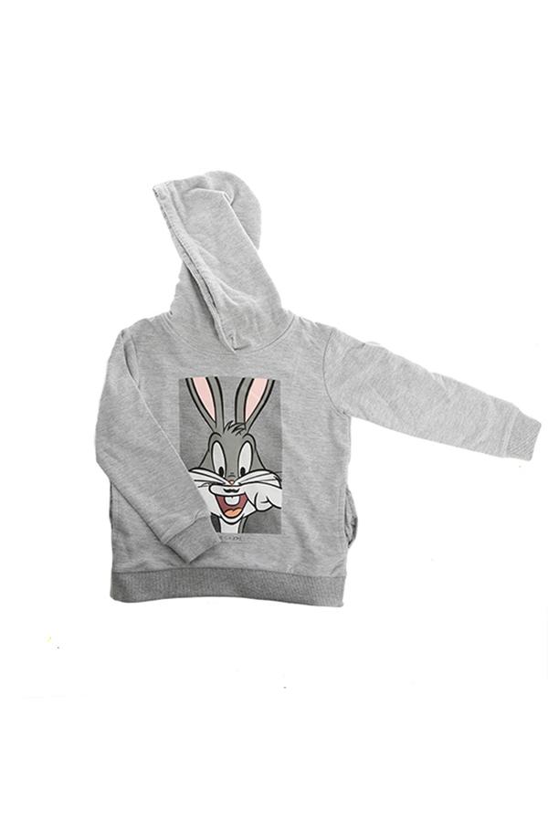 Kids Little Eleven Paris Bugs Bunny Pullover Hoody Top - Grey