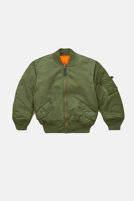 Kids Alpha Industry Bomber Jacket - Sage Green