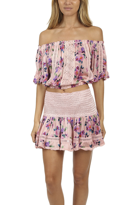 Sunday Saint-Tropez Loulou Print Top - Pink Washed