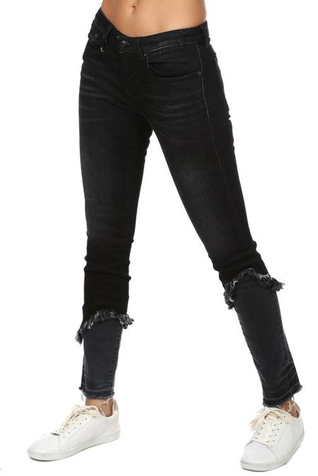 R13 Alison Skinny Jeans with Double Shredded Hem - Dark Moon