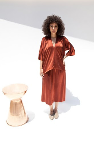 Miranda Bennett Muse Top Silk Charmeuse in Claret