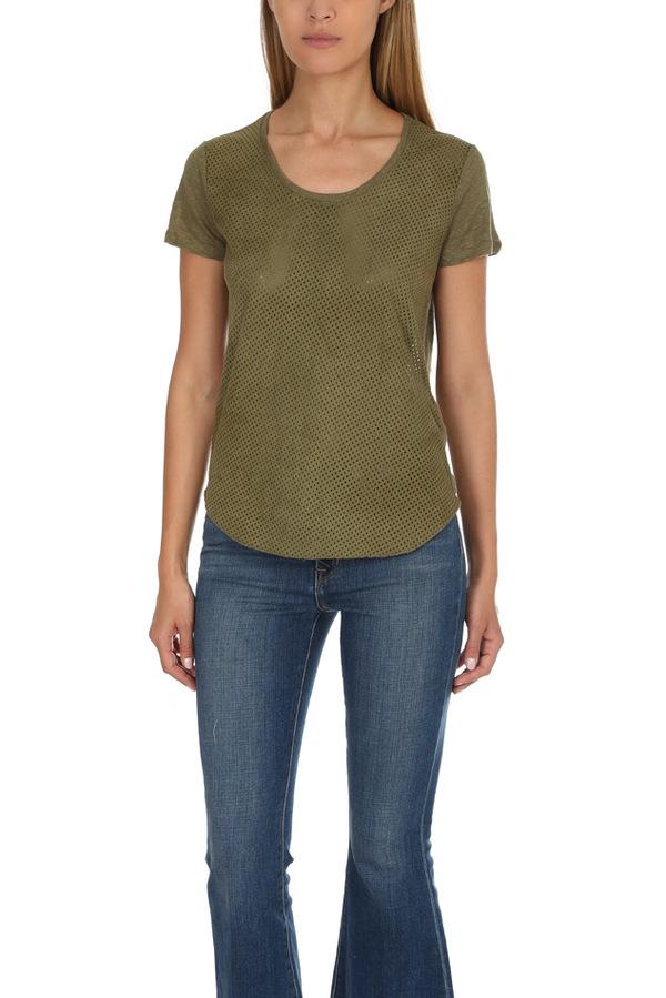 Majestic Filatures Leather Scoop Neck Classic T-Shirt - Khaki