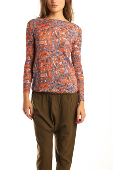 SUNO Stained Glass Long Sleeve Boatneck - Red/Blue