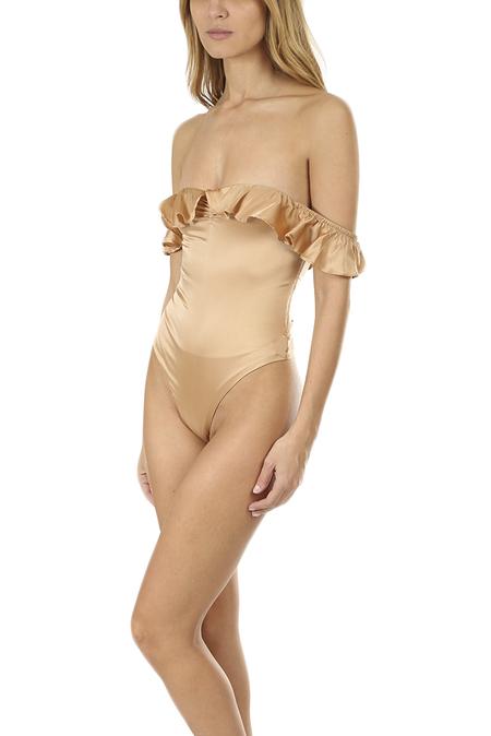 For Love & Lemons Virgo Ruffle Bodysuit - Champagne