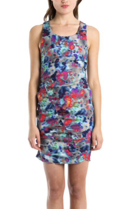 SUNO Shirred Sleeveless Multi-Colored Dress - Multi