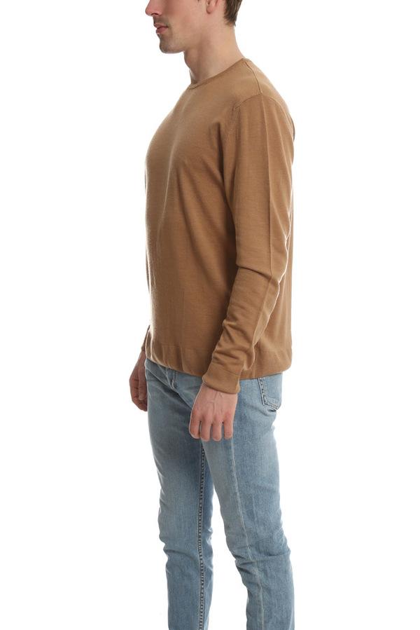 Sunspel Wool Crewneck Jumper Sweater - Camel