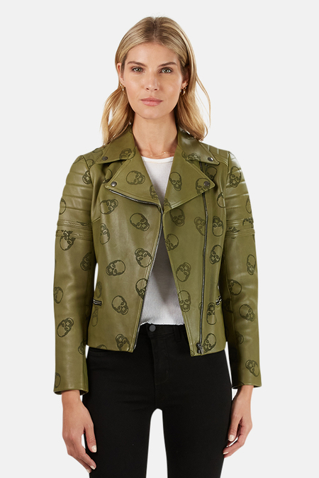 Lucien Pellat-Finet Perforated Skull Leather Jacket - Green
