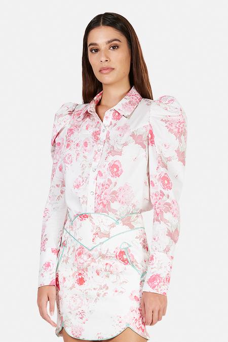 For Love & Lemons Saratoga Floral Blouse - Pink Floral
