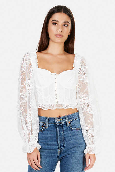 For Love & Lemons Cheyenne Lace Bustier Top - Ivory Lace