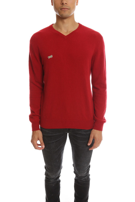 Fold Your Paper Cashmere V Neck Sweater - Red