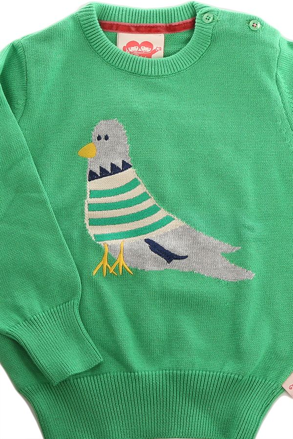 Kids Tootsa MacGinty Downtown Pigeon Sweater - Kelly Green
