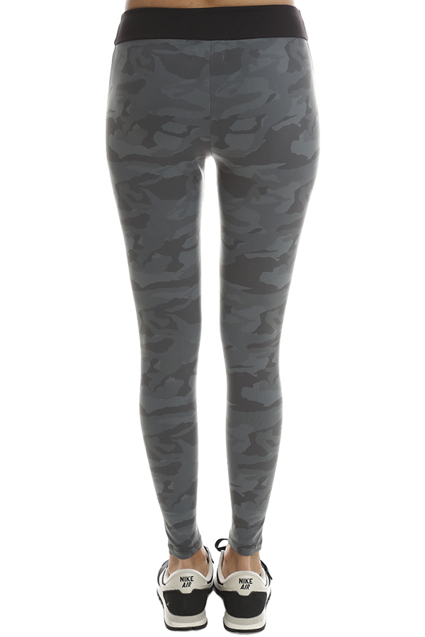Monrow Seamed Camo Legging - Grey Camo /Black