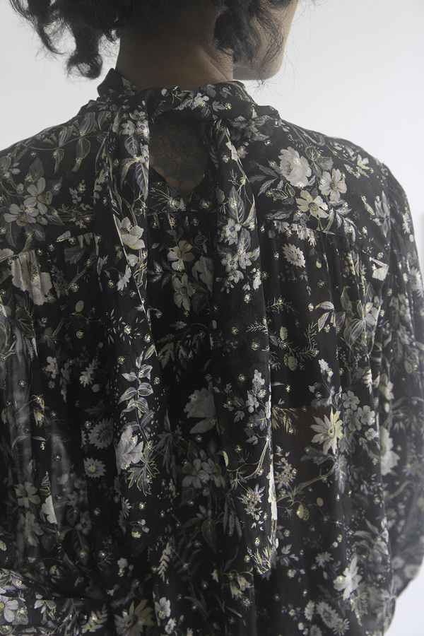SomeLikeUs Vintage Donna Mizar Sheer Silk Floral Blouse
