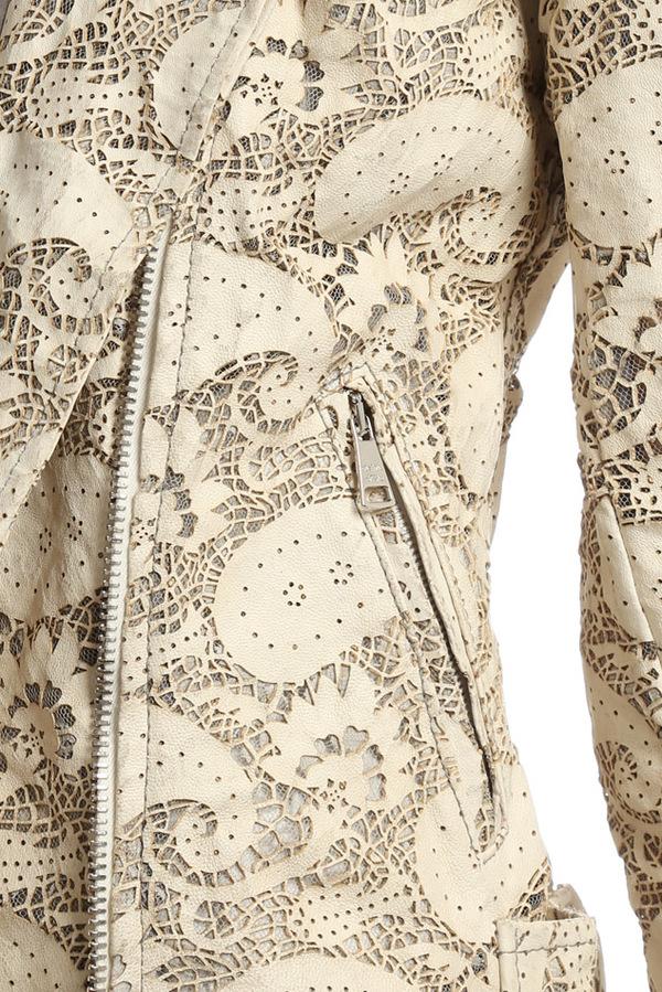 Giorgio Brato Asym Lace Leather Jacket - Milk