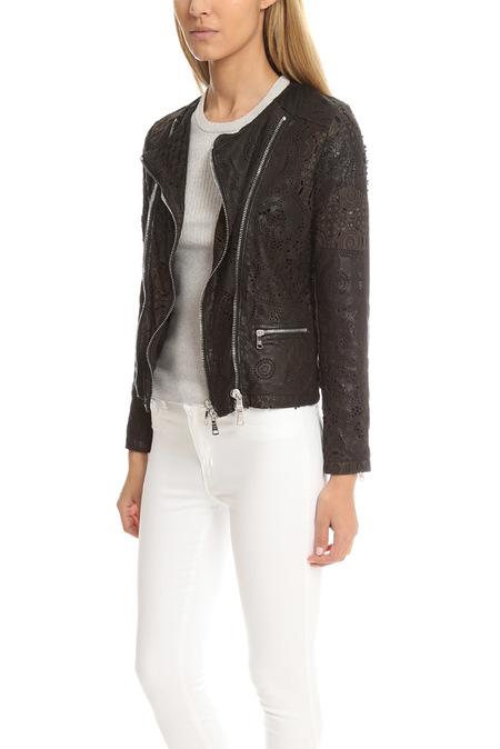 Giorgio Brato Double Zip Lace Leather Jacket - Nero