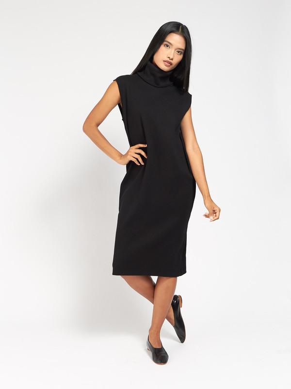 Kowtow Rib Roll Neck Dress Black