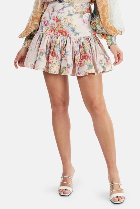 Zimmermann Wavelength Flounce Skirt - Pink Scarlet