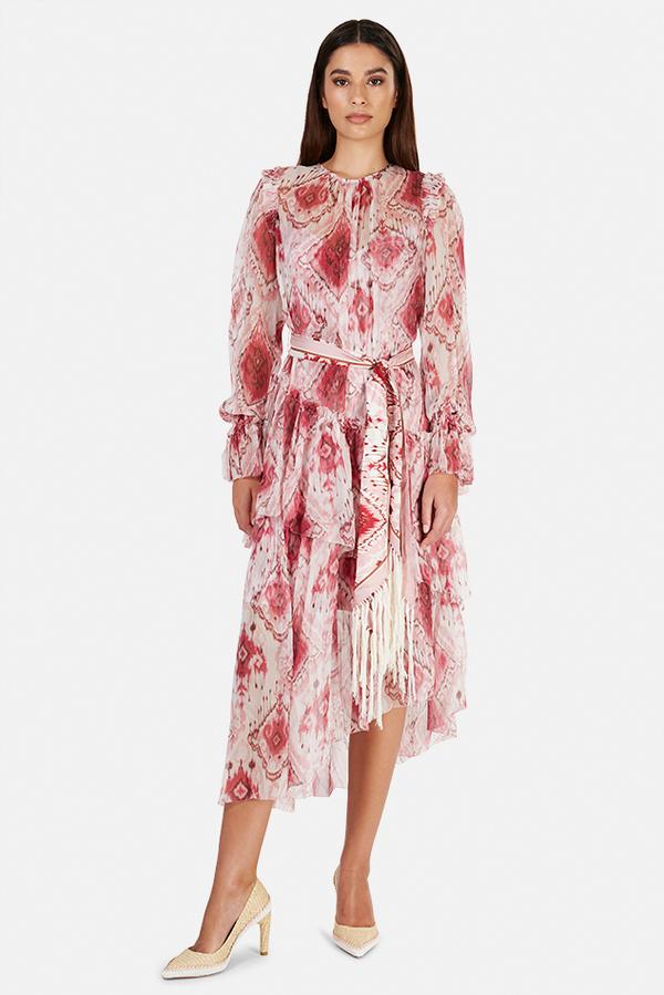 Zimmermann Wavelength Asymmetric Dress - Raspberry Ikat