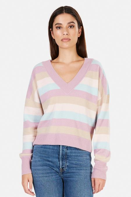 Naadam Striped Cashmere V Neck Sweater - Lilac Multi