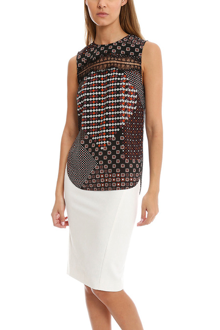 Thakoon Addition Lace Inset Tank - Pink Multi