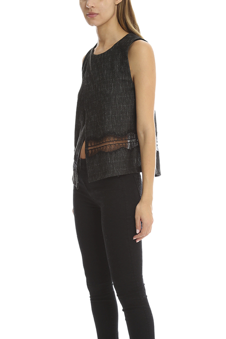 Thakoon Addition Crossover Woven Tank - Charcoal