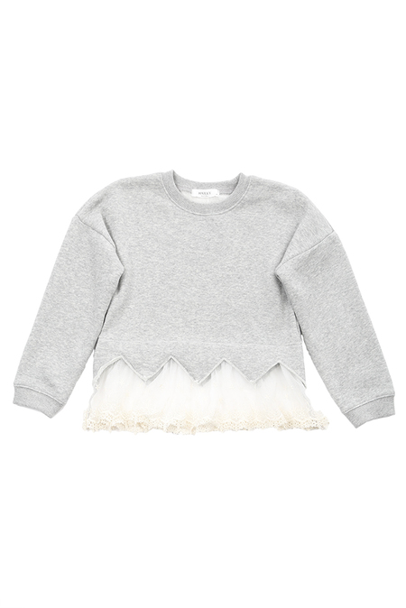 Kids Hailey Lace Sweater - Grey