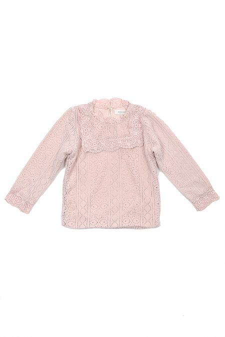 Kids Hailey Lace Tee - Pink