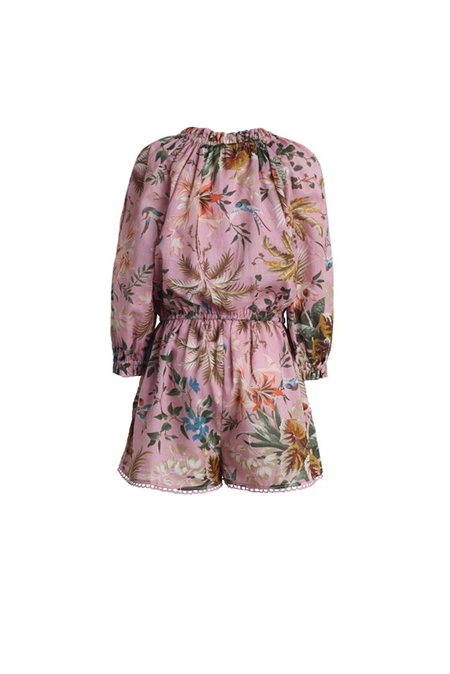 Zimmermann Tropicale Bow Playsuit - Pink Floral
