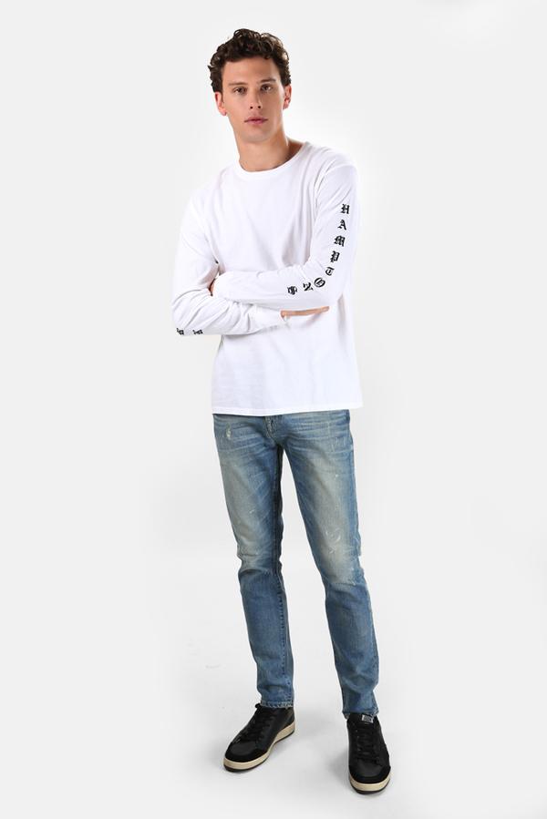 Henleys Blue&Cream Been Here Forever Long Sleeve T-Shirt - White