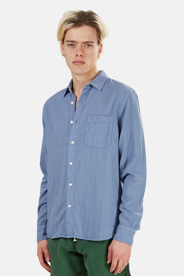 Kato The Ripper Slim French Seam Shirt - matte Blue